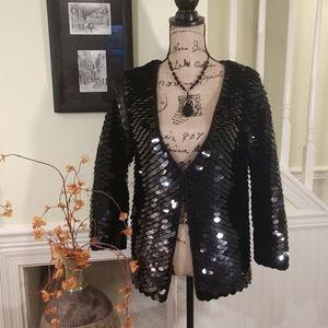 Betsey Johnson | EUC Scaled Sequin Wool Cardigan